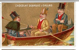 Carte Réclame / Chromo Chocolat Debauve Et Gallais -  Marine De Siège - Lith. L. Pacon - Fond Or/doré - 2 Scans - Chocolat