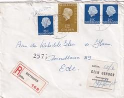 NL, Aangetekende Envelop Giethoorn Met 'Geen Gehoor' Sticker - 1949-1980 (Juliana)