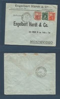 Argentina - XX. 1902 (20 Aug) Buenos Aires - Uruguay, Montevideo. Multifkd Mixed Issues Envelope Bearing 1 Peso Rate By - Argentine