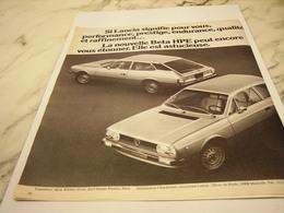 ANCIENNE  PUBLICITE VOITURE BETA HPE  DE LANCIA 1976 - Voitures