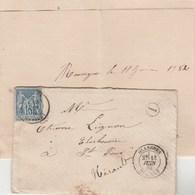 Yvert 90 Sage Lettre OLARGUES Hérault 13/6/1882 Cachet I Boite Rurale  Rouvigno à St Pons - Marcophilie (Lettres)