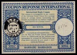 BARBADOS LondonLo16n 18 CENTSInternational Reply Coupon Reponse Antwortschein IAS IRC o GPO BARBADOS 21.07.59 - Barbades (1966-...)