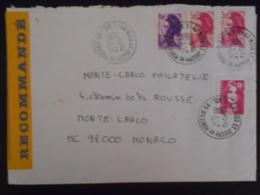 France Liberte De Gandon , Lettre Recommandee De Nantes 1990 Pour Monaco - 1982-90 Liberty Of Gandon
