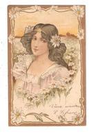 CPA Illustration Style Art Nouveau Portrait De Femme Fleurs ( Marguerites ) Légèrement Gaufrée - Illustrateurs & Photographes