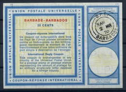 BARBADOS Vi1925 CENTSInternational Reply Coupon Reponse Antwortschein IAS IRC O G.P.O. BARBADOS 2.3.70 - Barbades (1966-...)