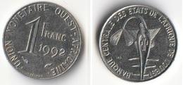 Piece 1 Franc 1992 Afrique De L'Ouest Origine Cote D'Ivoire - Elfenbeinküste