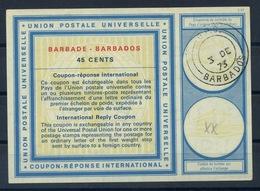 BARBADOS Vi2045 CENTSInternational Reply Coupon Reponse Antwortschein IAS IRC O G.P.O. BARBADOS 3.12.73 - Barbades (1966-...)