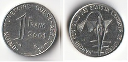 Piece 1 Franc 2001 Afrique De L'Ouest Origine Cote D'Ivoire - Elfenbeinküste