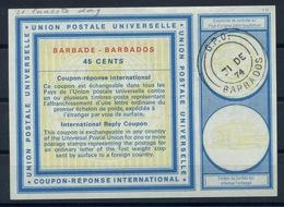 BARBADOS  Vi21  45 CENTS  International Reply Coupon Reponse Antwortschein IAS IRC O G.P.O. BARBADOS 31.12.74 Last Day ! - Barbades (1966-...)