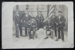 CPA LES OUVRIERS FRANÇAIS EN SUISSE CARTE PHOTO 1905 GENEVE VIVE LE TRIMARD - GE Genève