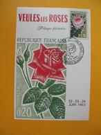 Carte Maximum   N° 1357  Roses - Veules Les Roses  Plage Fleurie République Française Flore - 1960-69
