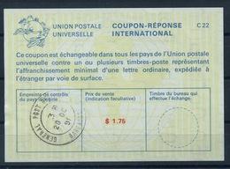 BARBADOS  La25A  $ 1.75  International Reply Coupon Reponse Antwortschein IAS IRC O G.P.O. BARBADOS 28.10.91 - Barbades (1966-...)