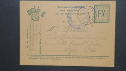 Carte Franchise Militaire 2 Drapeaux Et Couronne De Lauriers Compagnie Télégraphique SP 37 Pour Lyon - Cartes De Franchise Militaire