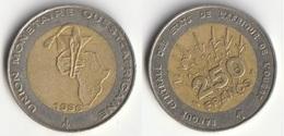 Piece 250 Francs 1996 Afrique De L'Ouest Origine Cote D'Ivoire - Elfenbeinküste
