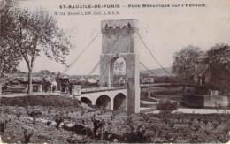 34 - St-Bauzile-de-Puhis - Pont Metallique Sur L'Hérault (vernie Type Photo-émail). - Autres Communes