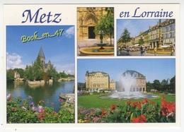 {82151} 57 Moselle Metz , Multivues ; Place Foch , Place Saint Jacques , Temple Neuf , Fontaine Place Jeanne D' Arc - Metz
