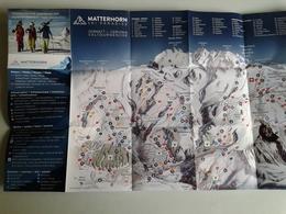 Alt1076 Ski Area Map Mappa Piste Sci Skirama Comprensorio Sciistico Zermatt Cervinia Valtournanche Cervino Matterhorn - Sport Invernali