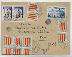 1956 - ENVELOPPE De SAVARY SUR MER (VAR) Avec VIGNETTE TUBERCULOSE + AFFR. ARMOIRIES FOIX => PARIS - Erinnophilie