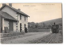 CPA 71 St Saint Point La Gare Et Le Train Tramway Ligne De Monsols - Cluny - France