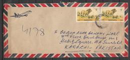 USED AIR MAIL COVER TANZANIA TO PAKISTAN LION - Tansania (1964-...)