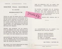 Tienen, Tirlemont, Tirlemont, Doodsprentje Dokter Paul Sacréas 1971. - Décès