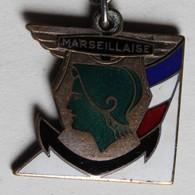 Porte Clés Insigne Croiseur La Marseillaise 1937 Marine Française Armée Ancre Marine Navire De Guerre - Marine