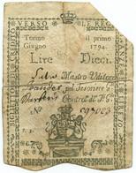 10 LIRE REGNO DI SARDEGNA REGIE FINANZE DI TORINO 01/06/1794 MB - Altri