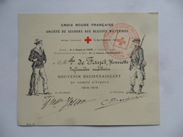 (Croix Rouge Française, Secours Aux Blessés Militaires 1914-1919) - Comité D'EVREUX - Souvenir Reconnaissant à Mlle..... - Organisations