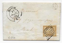 1850 - CERES 10c Sur LETTRE LOCALE De GRANDLUP Avec BOITE RURALE Q + GRILLE + T14 De MARLE (AISNE) - Marcophilie (Lettres)