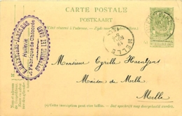 Belgique. CPI 2 F  Overmeire > Melle  1905 - Marcofilia