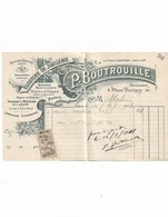 Facture Ancienne 1908  P.Boutrouille Bijouterie Or Joaillerie - Francia