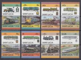 St. Lucia 1986 - MiNr. 814-829 ** MNH - 8 Paare - Lokomotiven; Locomotives; Locomotoras - Eisenbahnen
