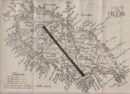 Acienne Carte De L' ÎLE  D' YEU  / VENDEE  85 /  Avec Rochers De Pêche Et Grottes   31 X 22 Cm - Cartes Géographiques