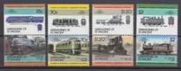 St. Vincent Und Die Grenadinen 1985 - MiNr. 427-434 ** MNH - 4 Paare - Lokomotiven; Locomotives; Locomotoras - Eisenbahnen