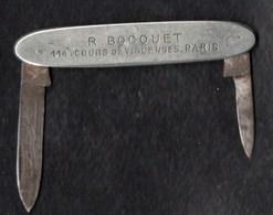 Autres Collections > Tabac (objets Liés) > Objets Publicitaires Paris Canif R. BOCQUET Café-Tabac .Cours De Vincennes - Objets Publicitaires