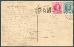 Houyoux 40centimes + 2Francs Sur C.P. En Expres (griffe Bilingue) Et TRAM (TRAM : 31mm Sur 10mm) De Bruxelles 4 Le 10-I - 1922-1927 Houyoux