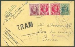 E.P. Carte HOUYOUX 35 Centimes + Houyoux 10 Centimes + 2x 1Franc En Expres (griffe Bilingue) Et TRAM (TRAM : 31mm Sur 10 - Postcards [1909-34]