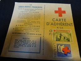 CROIX ROUGE  CARTE D ADHERENT   Avec Timbres 1955 - Commemorative Labels