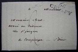 Crépy En Valois 1825 Marque 58/ CRESPY Sur Une Lettre Pour Compiègne (Oise) - Storia Postale