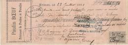 Chèque De Banque Pub Paulin Bœuf Fabricant De Foudres Et Futaines Hyères 1901 - Chèques & Chèques De Voyage
