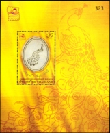 BIRDS-PEACOCKS-ROYAL THAI SILK EMBOSSED MS-THAILAND- LIMITED ISSUE- EXTREMELY SCARCE-MNH-M2-188 - Paons