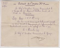 Citation à L'ordre Du Régiment De FROY  HENRI / 121 Regiment D'artillerie Lourde  ( VAZIAGA Chef D'escadron  1917 - Documenti Storici