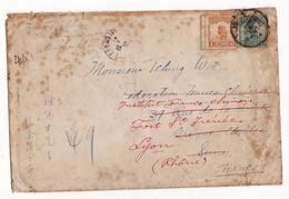 CHINE   Lettre Envoyée En 1922    Au Dos Cachet De SHANGHAI - Chine