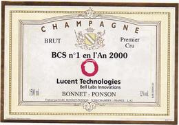 Ancienne Etiquette Champagne BRUT BCS N°1 En L'An 2000 - BONNET-PONSON à CHAMERY - 1500 Ml - Champagne