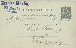 Charles Martin St. Denis - Ganzsache Nach Leipzig 1893 - Reunion Island (1852-1975)
