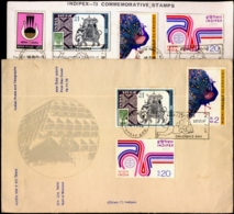BIRDS-PEACOCKS-INDIPEX-73 INFOMATION CARD & FDC- WITH SET OF 4 ON EACH- ERROR-INDIA-1973-SCARCE-BX1-386 - Paons
