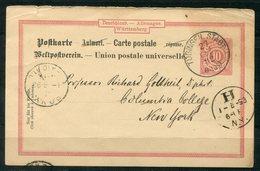 """4734 - WÜRTTEMBERG - Ganzsache P 29 II A Aus Tübingen Nach New York - Ank.-Stempel Und """"Paid All"""" Stempel - Deutschland"""