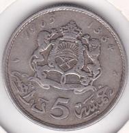 MAROC. 5 DIRHAMS AH 1384 - 1965. HASSAN II. ARGENT - Maroc