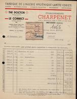 FACTURE ETS CHARPENET - FABRIQUE DE LINGERIE - MEYZIEUX - ISERE - AUCOURT - SAULIEU - 28 DECEMBRE 1945 - 1900 – 1949
