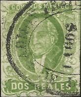J) 1856 MEXICO, HIDALGO, 2 REALES, GREEN, LAGOS DISTRICT, OVAL CANCELLATION, MN - Mexico